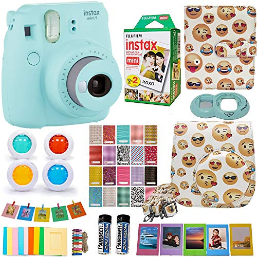 Abesons Kit Fujifilm Instax Mini 9 Camera Ice Blue + Accessories kit for Fujifilm Instax Mini 9 Camera Include Instant Camera + Fuji Instax Film (20 PK) EMOJI Case + Frames +Selfie Lens + Album + More