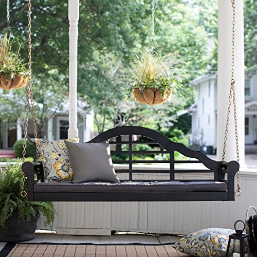 Kimbro Lutyens 5 ft. Outdoor Porch Swing with Cushion - Black
