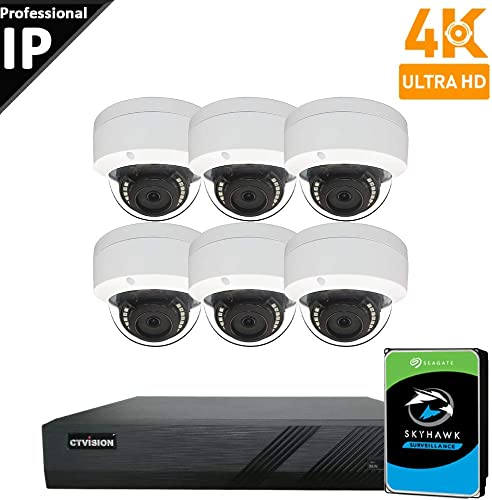 CTVISION UltraHD 4K 8MP 4X1080P Home Business Security Camera Systems,8-Channel PoE Video Security System 4TB HDD ,6pc 4K Outdoor Weatherproof Nightvision 90 Viewing Angle Turret Dome PoE IP Camera