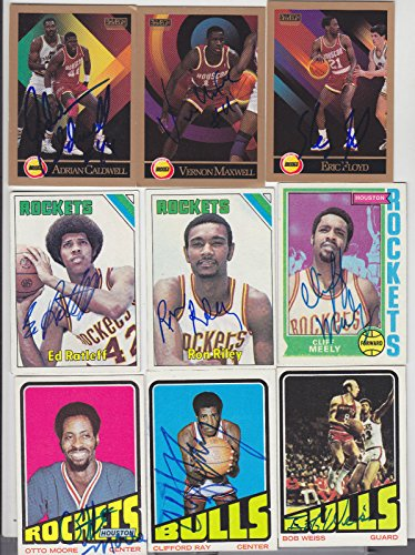 1990-91 SKYBOX SIGNED CARD ADRIAN CALDWELL ROCKETS NETS 76ERS PACERS SMU # 106