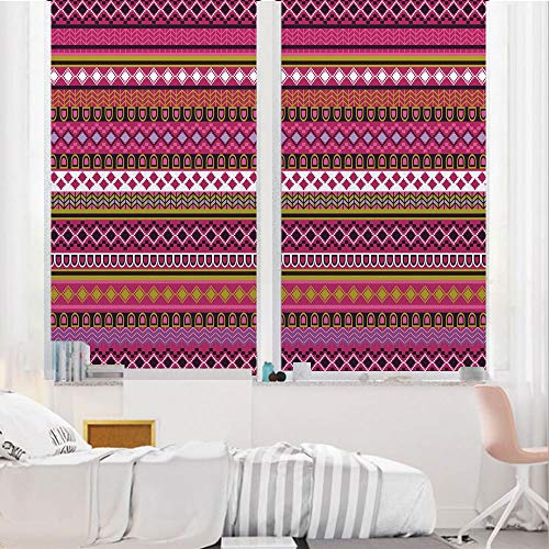 Pink 3D No Glue Static Decorative Privacy Window Films, Traditional African Motifs and Borders Ethnic Tribal Accents Vintage Native Folk Art Decorative,17.7