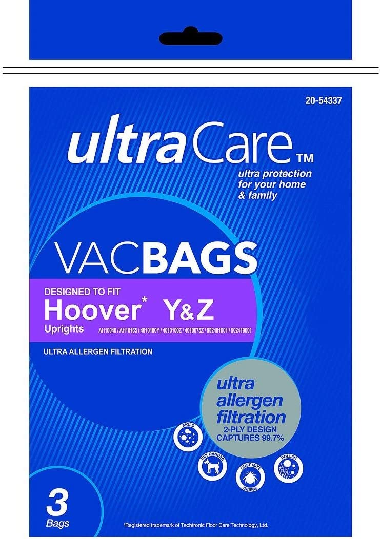 UltraCare Vacuum Bags Hoover Y & Z Uprights Ultra Allergen Filtration Bags 54337 -3pk