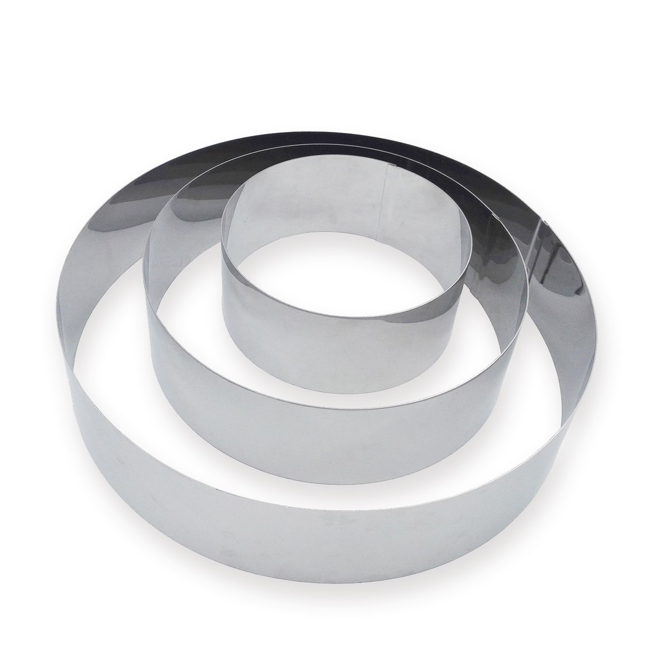 3 Tier Round Multilayer Anniversary Birthday Cake Baking Pans,Stainless Steel 3 Sizes Rings Round Molding Mousse Cake Rings(Round-shape,Set of 3) by FunWhale (Image #3)