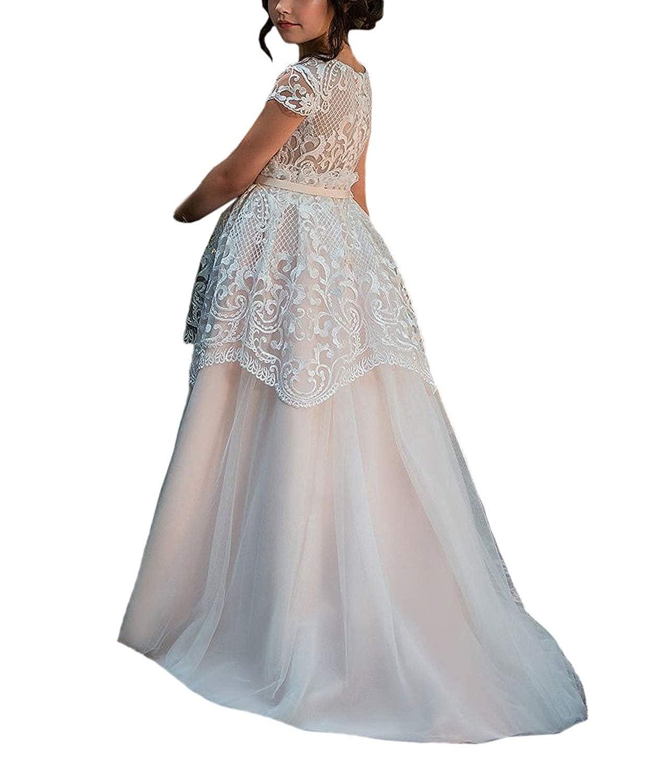 Amazon Blush Pink Wedding Flower Girl Dresses Vintage Lace Kids