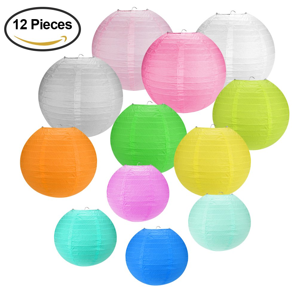 Accmor 12PCS Chinese Round Paper Lanterns with Assorted Sizes for Birthday Wedding Party Decorations Crafts
