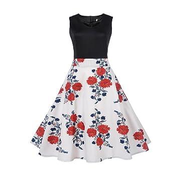 e9348204cba1 50s Vintage Kleider CLOOM Damen Sommerkleid festliche Abendkleid Round Neck  Sleeveless Rockabilly Dress Ärmellos Blumenkleid Hausfrau