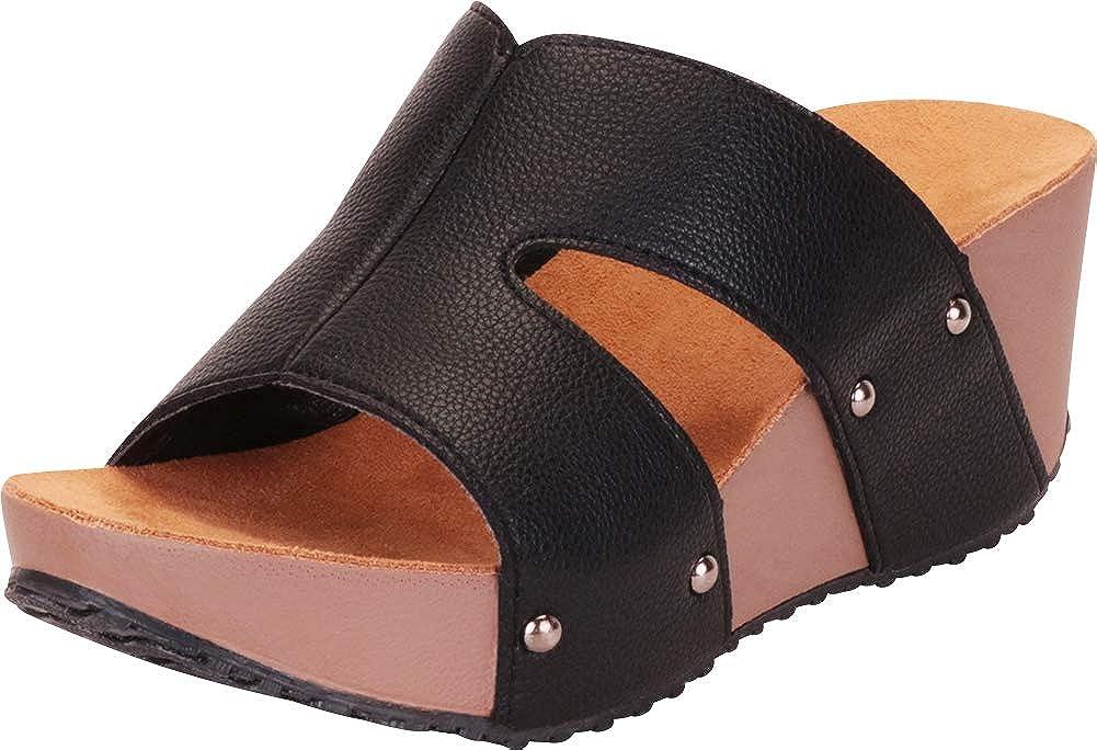 Black Pu Cambridge Select Women's Open Toe Side Cutout Chunky Platform Wedge Slide Sandal