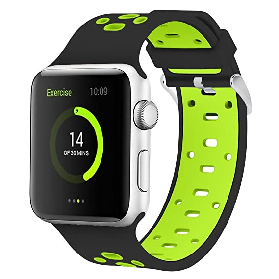 Smart Watch Soft Silicone Replacement Bands Compatible for Apple Watch Series 3 Series 2 Series 1 Nike+ Sport Edition Apple iWatch Band 42mm Black - ...