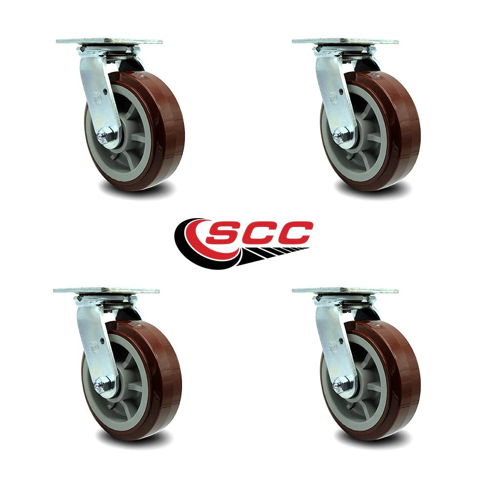 Service Caster - 6'' Heavy Duty Polyurethane Wheel Swivel Casters - Non Marking - 750 lbs/Caster - Set of 4