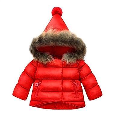 b060ebf6e5 Highdas Baby Mädchen Parka Daunenjacke Mantel Jungen Kinder Herbst Winter  Warme Schneeanzug Kleidung Rot 6-