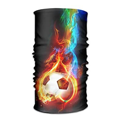 Creative Soccer With Fire Love DIY Pattern Headband Bandana Mask Sports Seamless Breathable Hair Band Turban For Workout, Fitness, Running, Cycling, Yoga