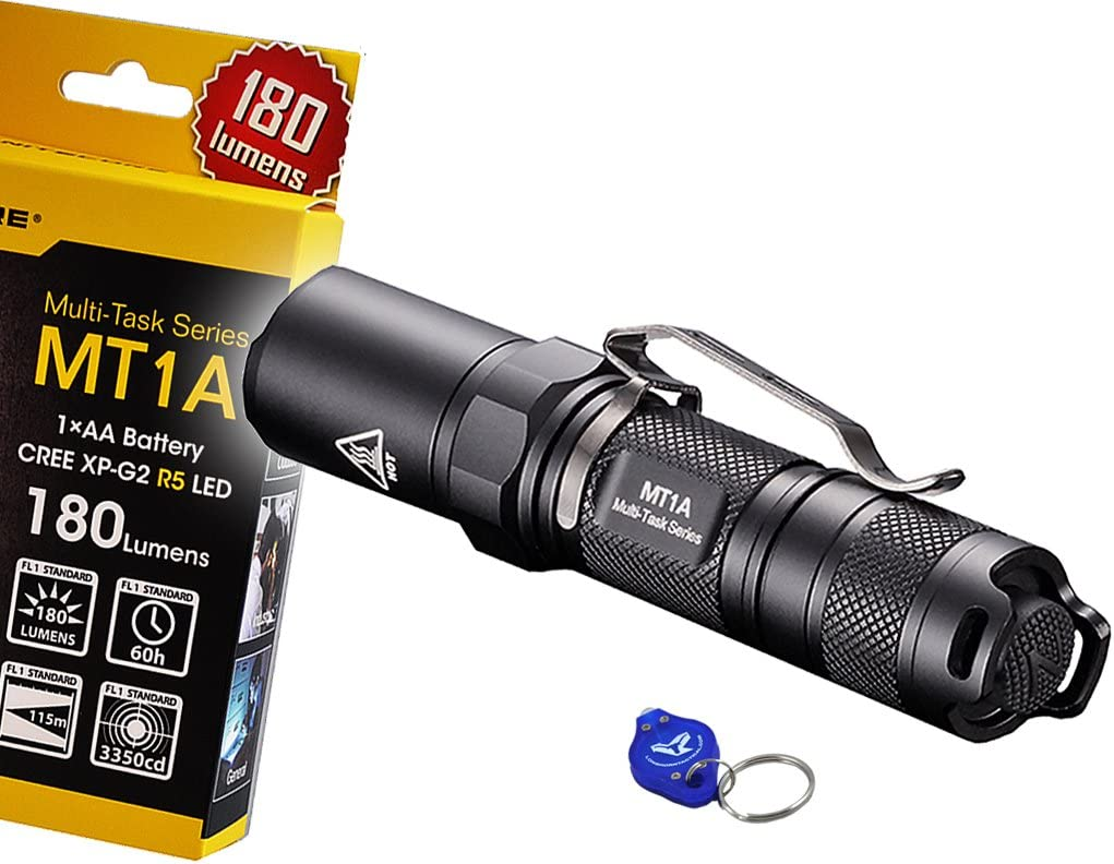 NiteCore MT1A 180 Lumens Compact Mini LED Flashlight w Clip Bonus Lumen Tactical Keychain Light – Use 1 x AA Battery