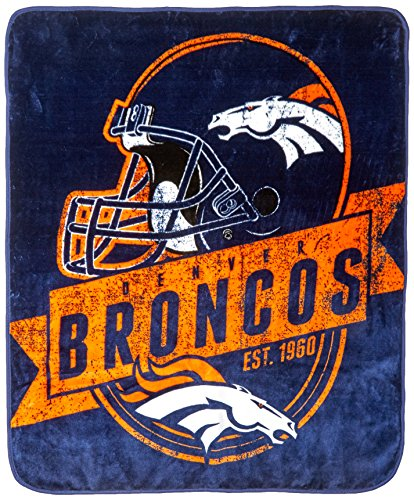 NFL Denver Broncos Grand Stand Raschel Throw, 50 x 60-Inch