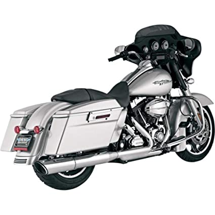 Vance & Hines Twin Slash 2:1 Round Muffler Chrome EA for Harley FL 10