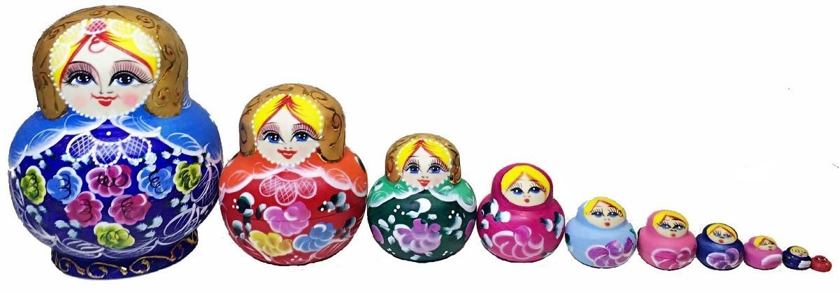 King&Light - 10pcs Peony Multicolor Russian Nesting Dolls Matryoshka Toys by K&L by LK (Image #3)