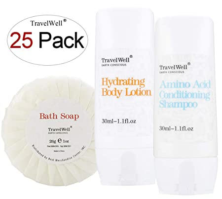 TRAVELWELL Individually Wrapped 30ml Shampoo Conditioner 2 in 1, 25 Bottles 30ml Body Lotion, 25 Bottles Round Tissue Pleated 28g Cleaning Travel Soap In Bulk, 25 Bars