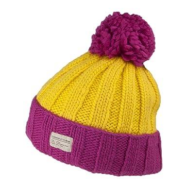 cfcf20845b0d91 Kusan Hats Ribbed Turn Up Bobble Hat - Pink-Yellow 1-Size: Amazon.co.uk:  Clothing