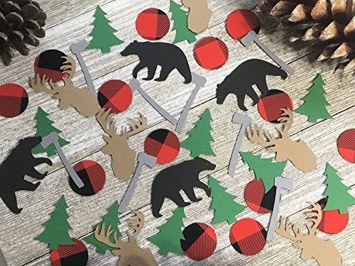 Lumberjack Confetti - Hunter Party Confetti - Buffalo Plaid Party Decor (Set of 125 - Confetti Bear