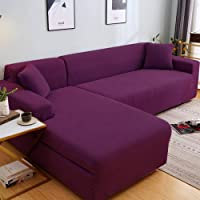 1/2/3/4 Seater Pure Color Sofa Protector,for Living Room Stretch Sectional Slipcovers L Shape Armchair Protector-1_90…