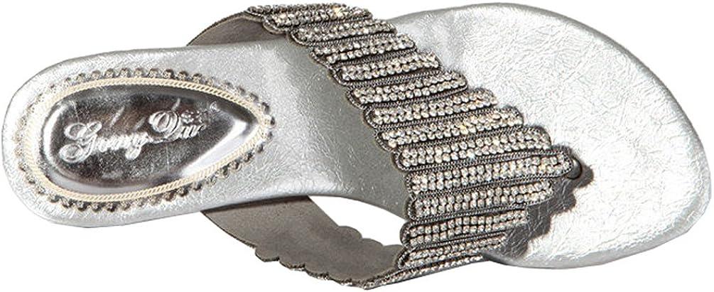 Abby Womens Fashion Wedding Party Show Work Rhinestone Flat Flip-Flop Micro-Fiber Sandals