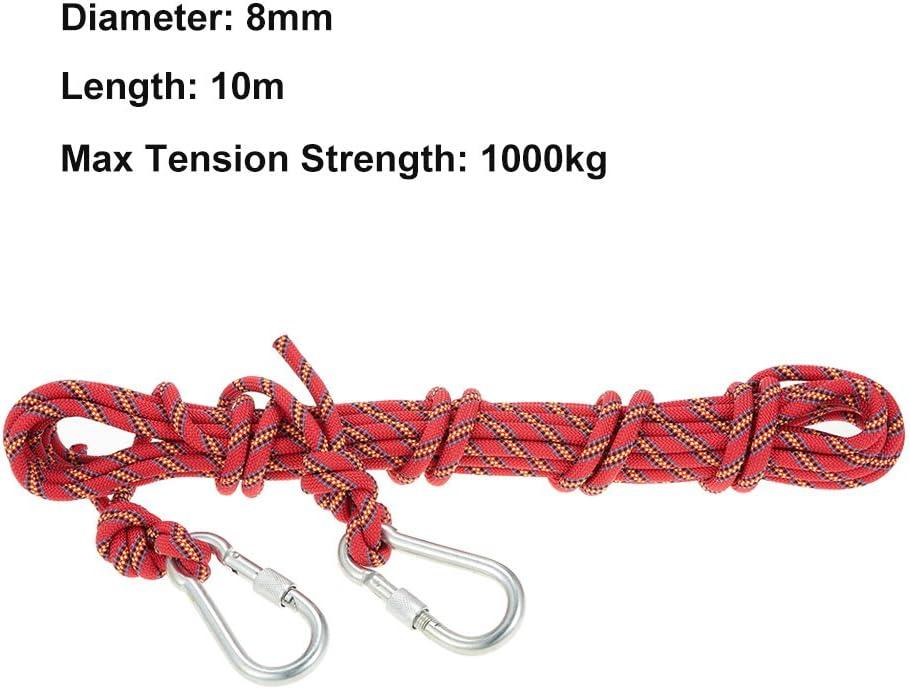 Docooler 8mm 10m Klettern Seil mit Karabiner//Survival Schnur Zubeh/ör