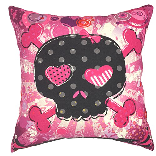 YOUR SMILE Cotton Linen Decorative Cushion Covers Vintage Skull Throw Pillow Cases for Sofa 1818 Inches (Pink Skull) (Burlap Pencil Case)