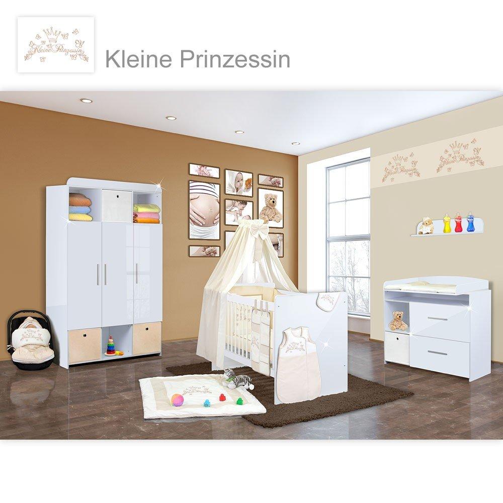 Babyzimmer Mexx in Weiss Hochglanz 11 tlg. mit 3 türigem Kl. + Kleine Prinzessin Beige