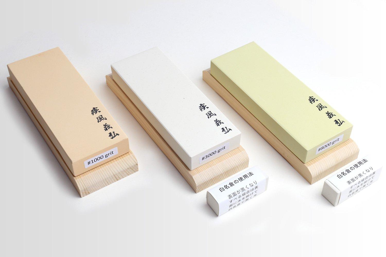 Yoshihiro Professional Grade Toishi Japanese Whetstone Knife Sharpener Water Stones 3PC SET: #1000, #3000, #8000