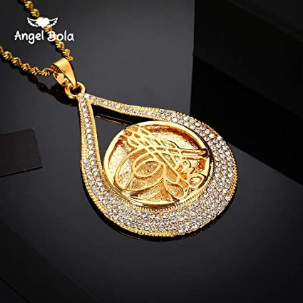 ptk12 Pendant Necklaces - Turkey Coin Pendant Allah Necklace for Women/Men  Gold Color Metal Coins Muslim Necklace Jewelry Turk Gifts with AAA