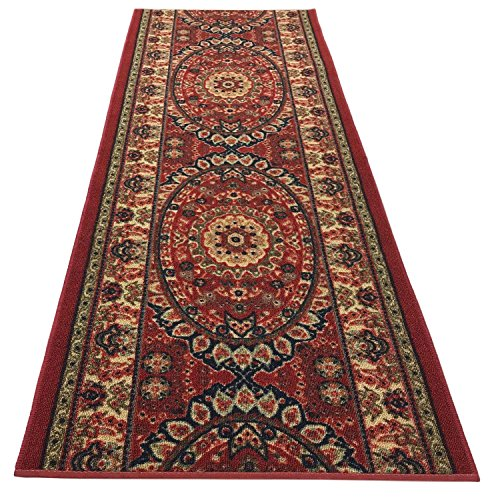 RugStylesOnline Custom Size Runner Persian Medallion Roll Runner Red 36 Inch Wide x Your Length Size Choice Slip Skid Resistant Rubber Back (Red, 12 ft x 36 in) -