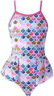 YRCUONE Girls One Piece Swimsuit All Over Print Beach Swimwear Bathing Suit for Kids 3-10 Years