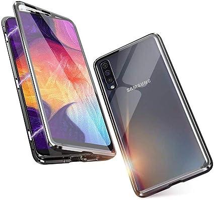 Galaxy A50 Coque Verre trempé Retour Cas avec Adsorption Magnétique Métal Bumper pour Samsung Galaxy A50 Rouge