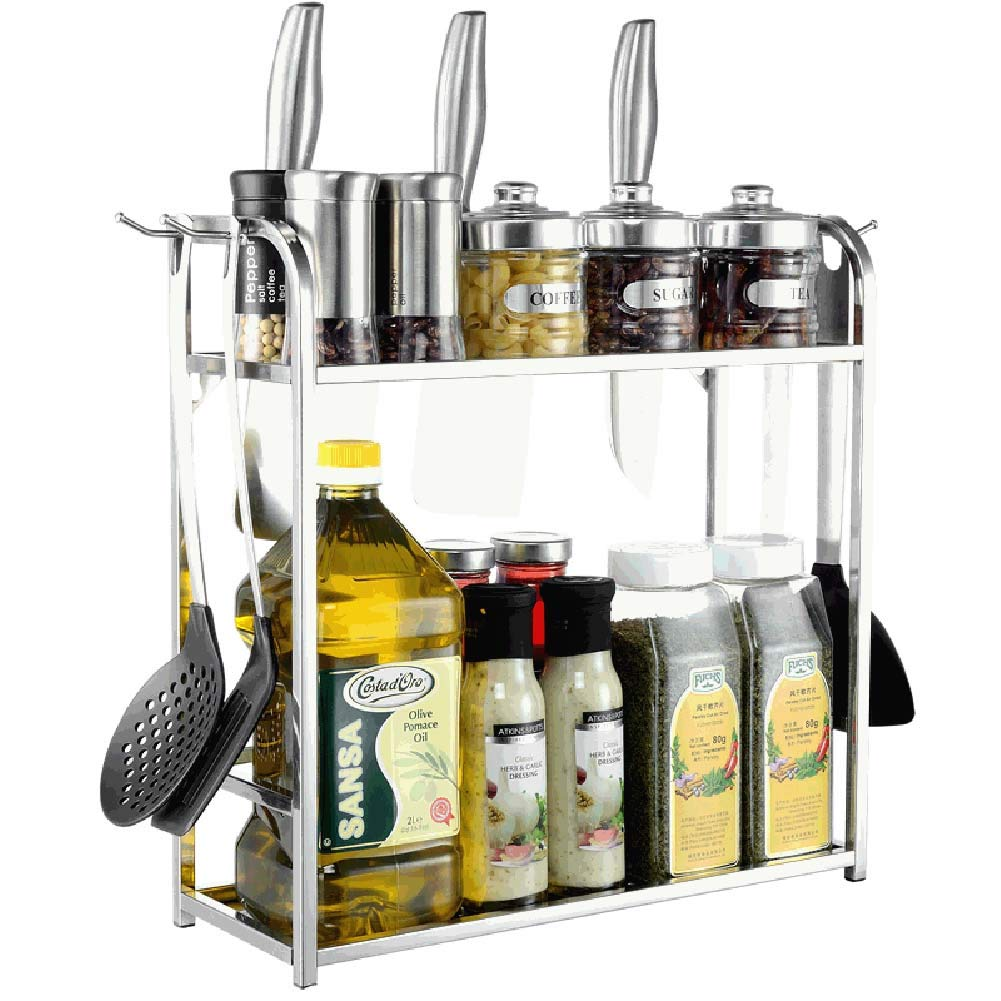 2-Layer Kitchen Counter Storage Rack for Seasoning Jars, 40 15 42 cm