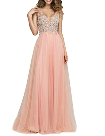 Amazon.com: LMBRIDAL Womens Sexy Backless Beading Prom Dress A Line Evening Gown EVD06: Clothing