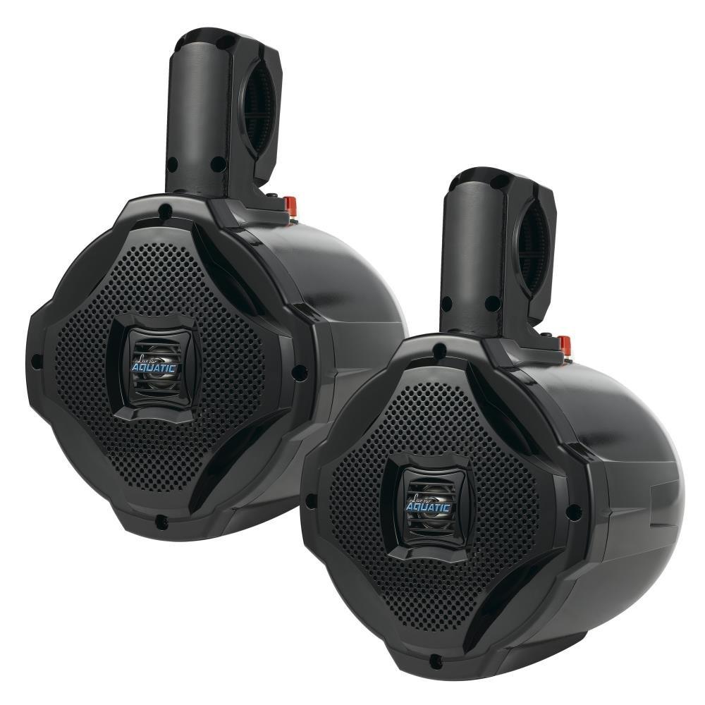Lanzar Dual 6.5'' Bluetooth Marine Wakeboard Speakers [Active & Passive] Water Resistant 2-Way Tower Speaker System, 1000 Watt (AQAWBPR65BK)