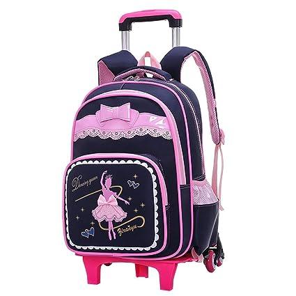 A-Nice Trolley para niños Escolares Alumnos Escalera de Tres Ruedas Desmontable Caja para Arrastrar a Mano: Adecuada para niñas (Color : Negro): Amazon.es: ...