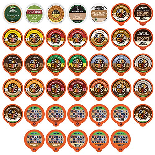 Custom Variety Pack Decaf Flavored Coffee Single Serve Cup for Keurig K cup - 40 Count ()