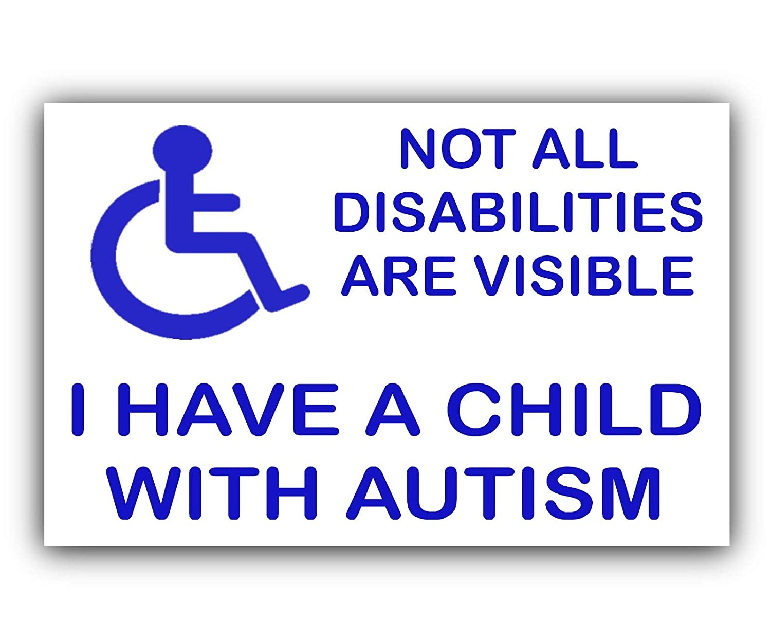 Platinum Place 1 x Child With Autism Disabled Sticker-Blue onto White-External Car, Van, Vehicle Vinyl Sign, Disability, Not, All, Visible, Vehicle, Home, Door, Care PPCHILDAUTISM