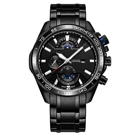 SW Watches Marca Temeite Relojes Negros De Lujo para Hombres Reloj De Cuarzo De Acero Inoxidable