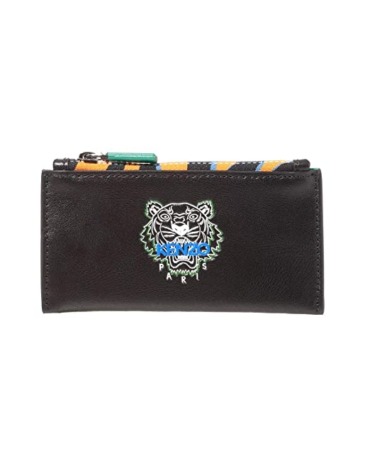 139210aa9cb3 Kenzo Mens Zipped Tiger Leather Cardholder Wallet N/S BLACK: Amazon ...