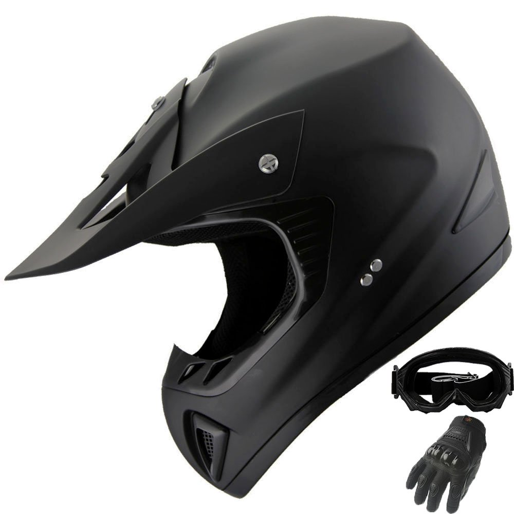 ATV Motocross Dirt Bike Helmet Off Road Combo 402 Matt Black+Gloves+Goggles (S)