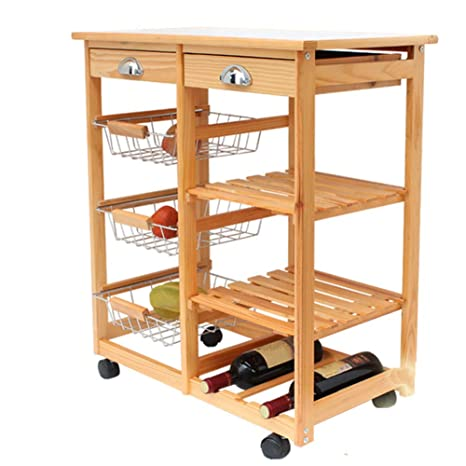 Amazon Com Dining Trolley Rolling Kitchen Wooden Trolley