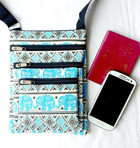 Blu tre tasca passaporto borsa a tracolla con elefante design