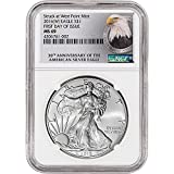 2016 (W) American Silver Eagle (1 oz) First Day of Issue 30th Anniversary Label $1 MS69 NGC