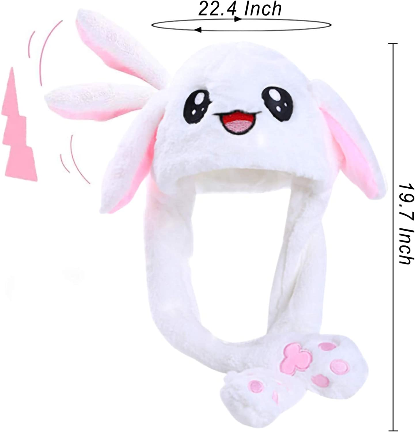 Bunny Ear Hat with Moving Ears Cute Rabbit Hat Ear Moving Jumping Hat,White