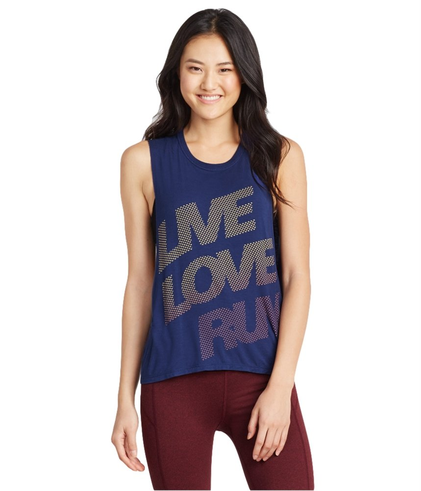 Aeropostale Womens Live Love Run Muscle Tank Top Blue M - Juniors by Aeropostale (Image #1)