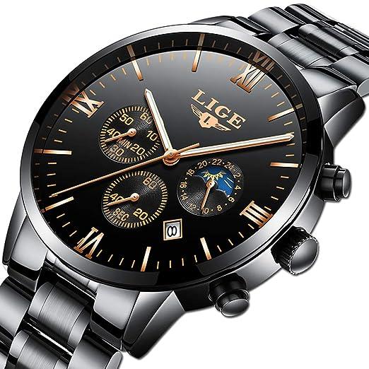 f03910672e165 Montres des hommes montres LIGE en acier inoxydable classique noir de luxe  des montres occasionnelles avec