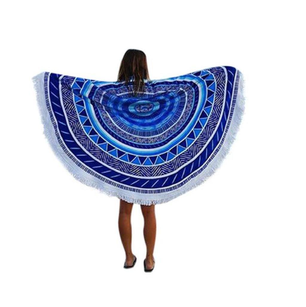 Sannysis toallas de playa con borla 150 x 150 cm, color azul [Clase de eficiencia energética A+++]