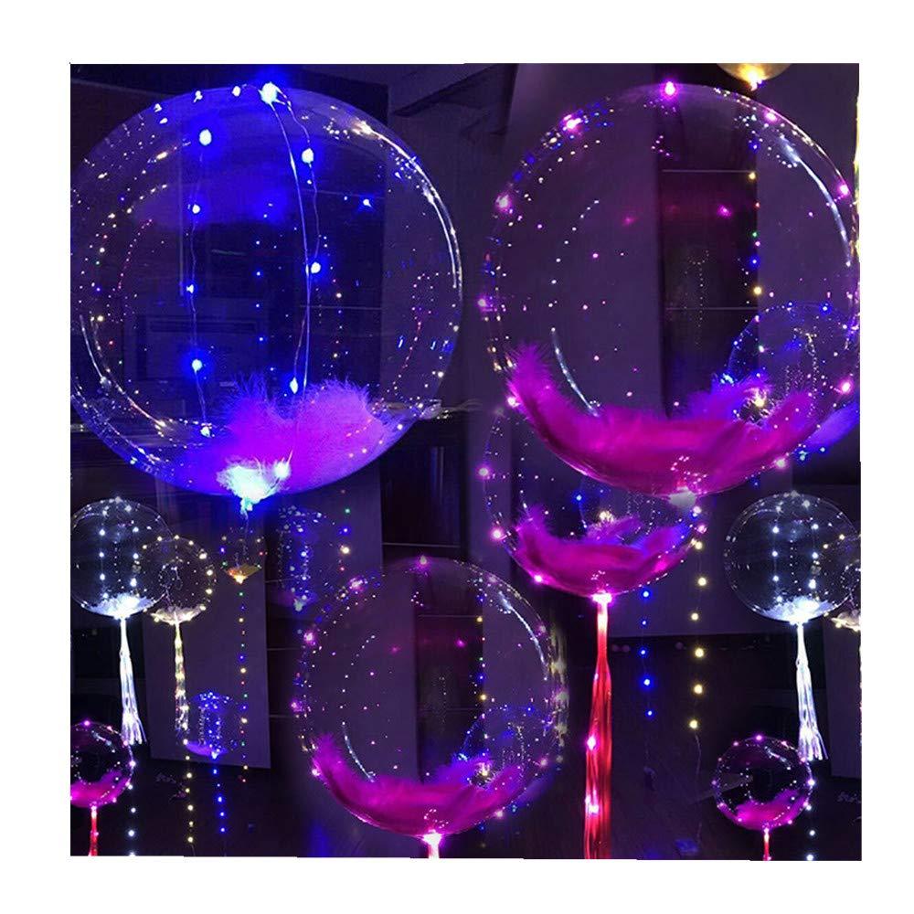 SiQing 5pcs 20inch Multicolor LED Light Best Decoration Reusable Luminous Led Balloon Transparent Round Bubble Decoration Party Wedding Birthday (Multicolor)