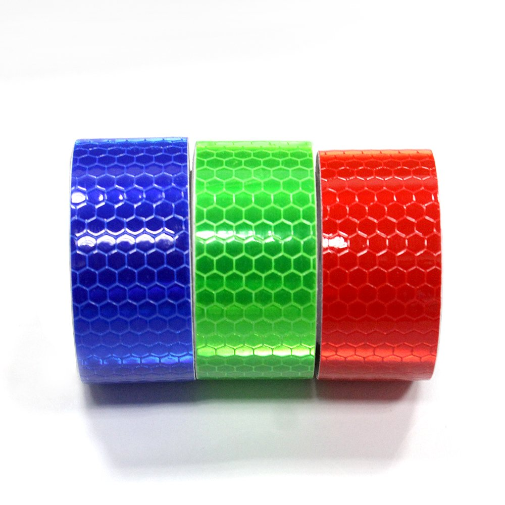 3Pcs 2.5cmx2.5m(1''x98'') Honeycomb Self-Adhesive Safety refelctive Tape Warning Tape Reflector Tape Security Marking Tape Waterproof for car/Trailers/Truck/Traffic/Construction site(Red,Blue,Green) by Muchkey (Image #2)